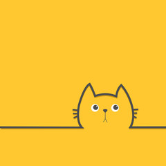 Black cat head face with eyes Contour silhouette line icon. Cute cartoon character. Kitty kitten with whisker Baby pet Yellow background. Isolated Flat design