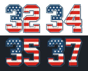 set retro number with america flag, vector images are straight and smooth