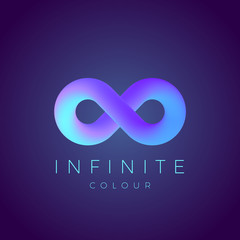 Abstract Vector Infinity Symbol with Modern Gradient and Typography. On Dark Background