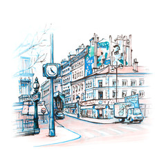 Paris street with traditional houses, cafes and lanterns, Paris, France. Picture made markers