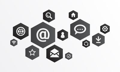 Graphique communication internet - noir et blanc