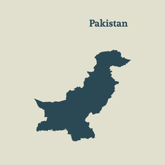 Outline map of Pakistan.  vector illustration.