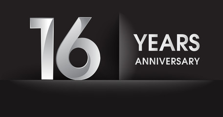 sixteen years Anniversary celebration logo, flat design isolated on black background, vector elements for banner, invitation card for celebrating 16th birthday party