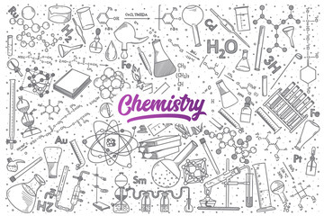 Hand drawn Chemistry doodle set background with purple lettering in vector
