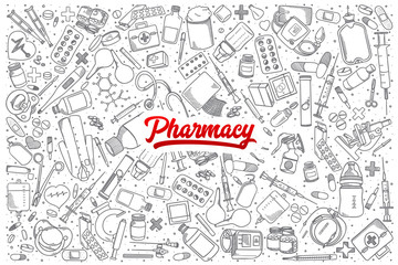Hand drawn Pharmacy doodle set background with red lettering in vector