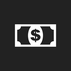 Money icon. Vector illustration in flat style. Dollar on black background.