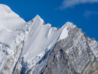 Snow peaks of Mount Chanodug on a clear day, Daocheng Yading National Park, Sichuan, China.