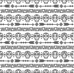 Day of the Dead. Tribal hand drawn line mexican ethnic seamless pattern. Border. Wrapping paper. Print. Doodles. Tiling. Handmade native vector illustration. Aztec background. Texture. Style skull.