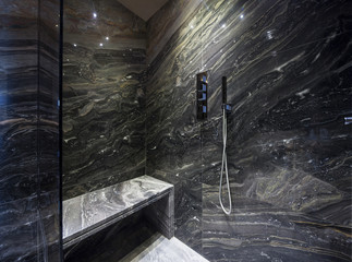 Interior of modern bathroom, shower