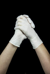 hand with white Glove on black