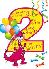 buon compleanno bambina numero 2 con draghetta