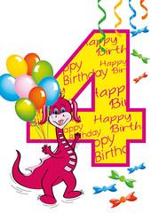 buon compleanno bambina numero 4 con draghetta