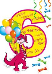 buon compleanno bambina numero 6 con draghetta