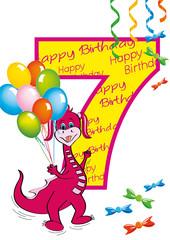 buon compleanno bambina numero 7 con draghetta