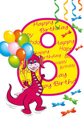 buon compleanno bambina numero 8 con draghetta