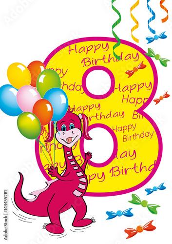 Buon Compleanno Bambina Numero 8 Con Draghetta Stock Image And