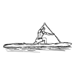 CANOE SLALOM player - vector illustration sketch hand drawn with black lines, isolated on white background