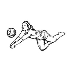 BEACH VOLLEYBALL - vector illustration sketch hand drawn with black lines, isolated on white background