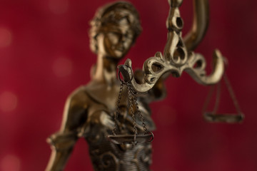 Close up capture of the Statue of Justice - lady justice or Iustitia / Justitia the Roman goddess of Justice