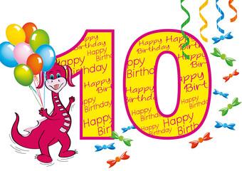 buon compleanno bambina numero 10 con draghetta