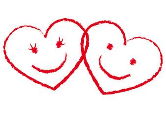 2 rote Smiley-Herzen