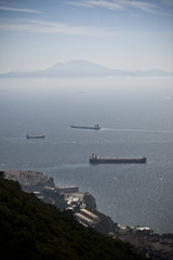 The coast of Africa seen from the top of the Rock of Gibraltar