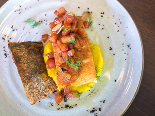 Grilled salmon with pumpkin mashed