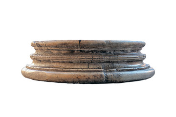 old dilapidated brown Roman antique marble basis of the column isolated on white background