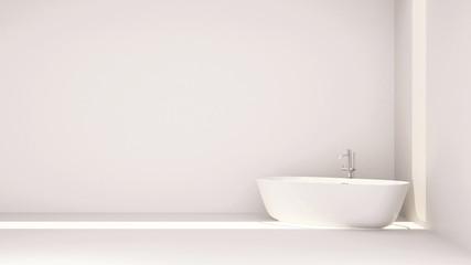 white bathroom minimal design-3D Rendering