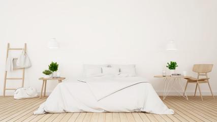 White bedroom or guestroom of hotel minimal design - 3d Rendering