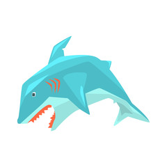Great White Shark Marine Fish Living In Warm Sea Waters Cartoon Character Vector Illustrations