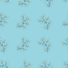 Floral seamless pattern with branches and berries.