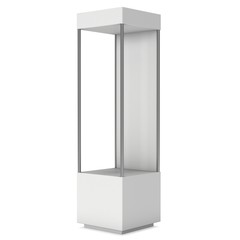 Empty showcase with for exhibit. 3D render illustration isolated on white background. Trade show booth blank pedestal for expo design.