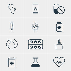 Vector Illustration Of 12 Medical Icons. Editable Pack Of Phone Monitor, Flask, Heartbeat And Other Elements.