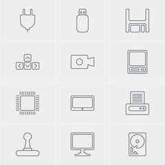 Vector Illustration Of 12 Computer Icons. Editable Pack Of Flash Drive, Hard Drive Disk, Keypad And Other Elements.
