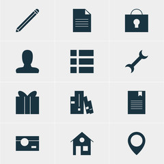 Vector Illustration Of 12 Web Icons. Editable Pack Of Map Pointer, Account, House And Other Elements.
