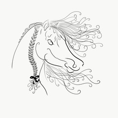 The horse's head with a fluffy mane and bright oblique painted graceful lines with swirls, tattoo