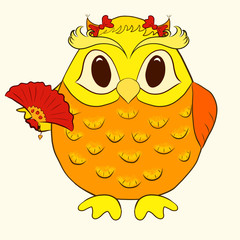 bright funny owl girl