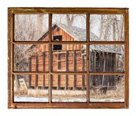 Old rustic barn window view
