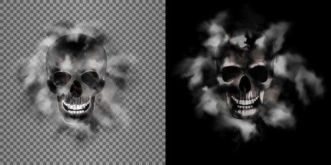 human skull in the smoke