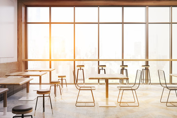 Cafe with panoramic windows, toned