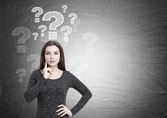 Woman in dress and questions, blackboard
