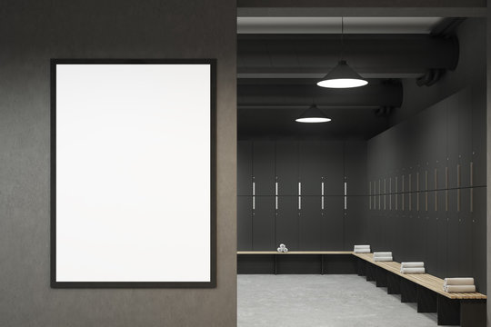 Gray locker room with a poster
