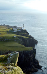 Beautiful Rugged Sea Cliffs at Neist Point in Scotland