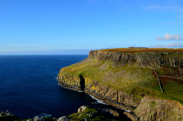 Dark Blue Waters at the Base of the Sea Cliffs at Neist Point