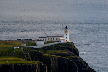 Sea Cliffs and Neist Point Lighthouse in Scotland