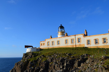 Brilliant Blue Skies Behind Neist Point Lighthouse in Scotland