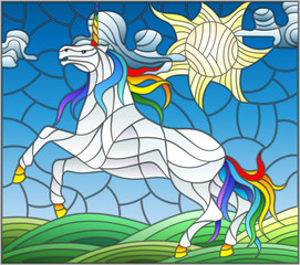 Illustration in stained glass style with fabulous white unicorn galloping on the green meadow on the background of the cloudy sky and sun