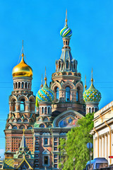 Colorful painting of Church of the Savior on Blood