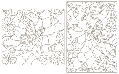 Set contour illustrations of stained glass with fabulous fairies on a background of flowering plants
